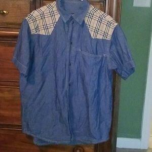 Burberry Plaid Button Denim Mens Shirt Lg